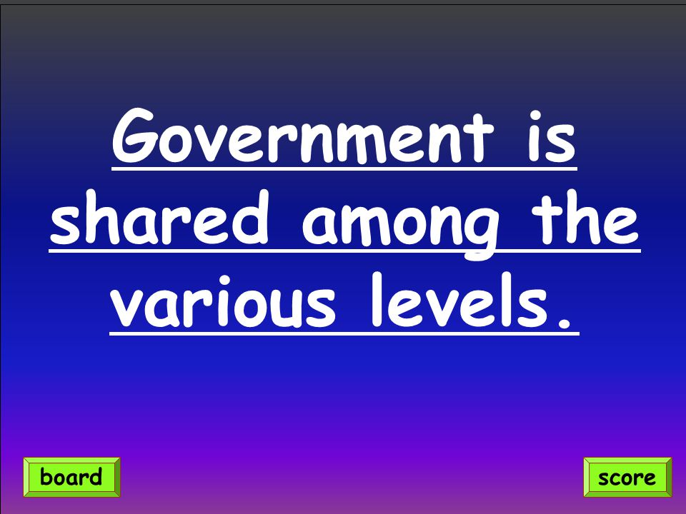 Government is shared among the various levels. scoreboard