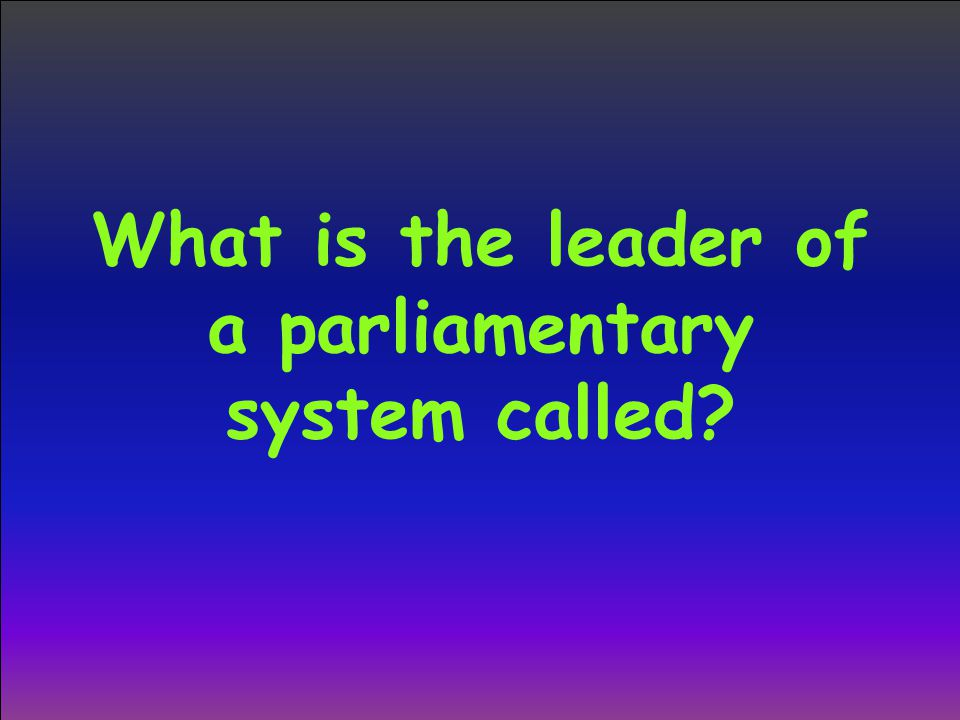 What is the leader of a parliamentary system called