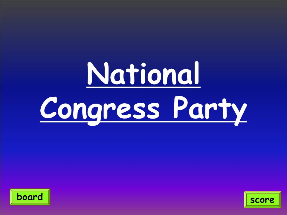 National Congress Party score board