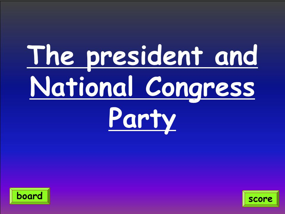 The president and National Congress Party score board