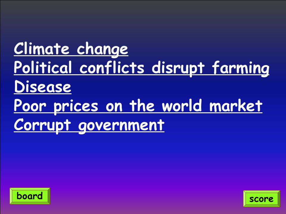 Climate change Political conflicts disrupt farming Disease Poor prices on the world market Corrupt government score board