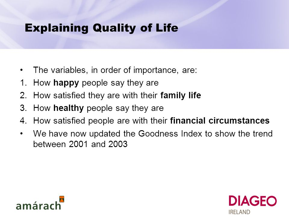 Explaining Quality of Life The variables, in order of importance, are: 1.How happy people say they are 2.How satisfied they are with their family life 3.How healthy people say they are 4.How satisfied people are with their financial circumstances We have now updated the Goodness Index to show the trend between 2001 and 2003