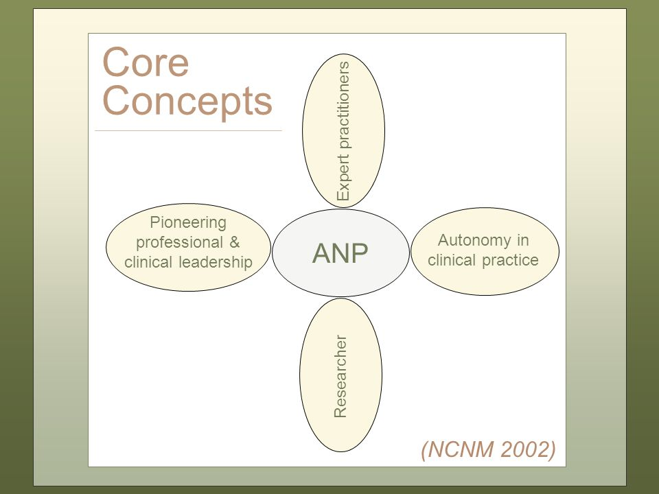 ANP Pioneering professional & clinical leadership Researcher Autonomy in clinical practice Expert practitioners Core Concepts (NCNM 2002)