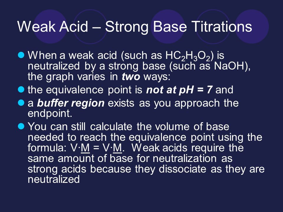 Weak Acid – Strong Base Titrations When a weak acid (such as HC 2 H 3 O 2 ) is neutralized by a strong base (such as NaOH), the graph varies in two ways: the equivalence point is not at pH = 7 and a buffer region exists as you approach the endpoint.