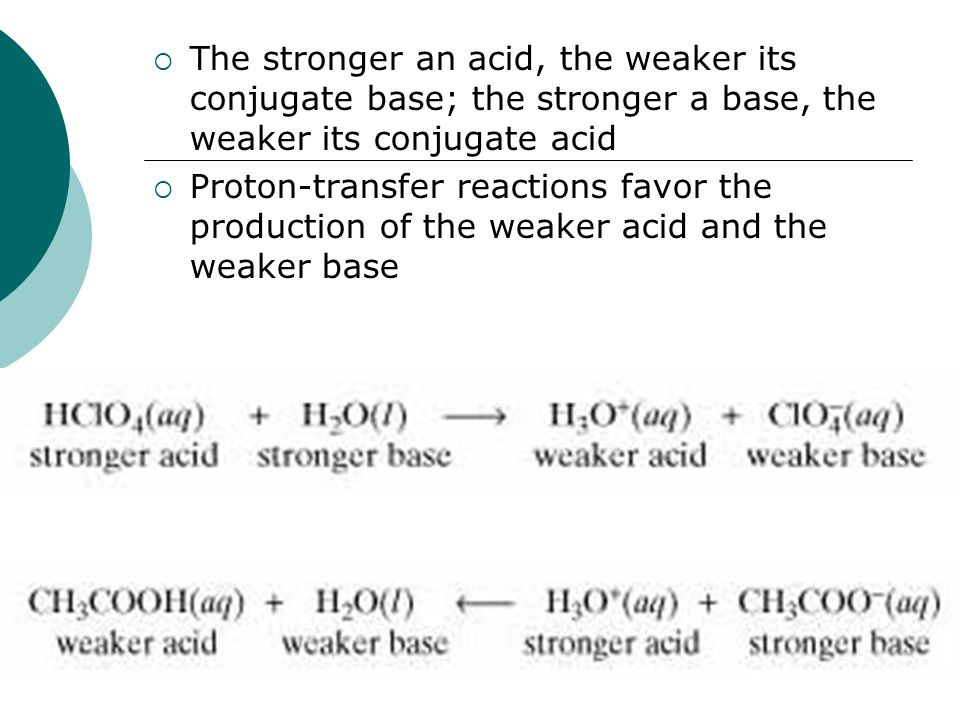  The stronger an acid, the weaker its conjugate base; the stronger a base, the weaker its conjugate acid  Proton-transfer reactions favor the production of the weaker acid and the weaker base
