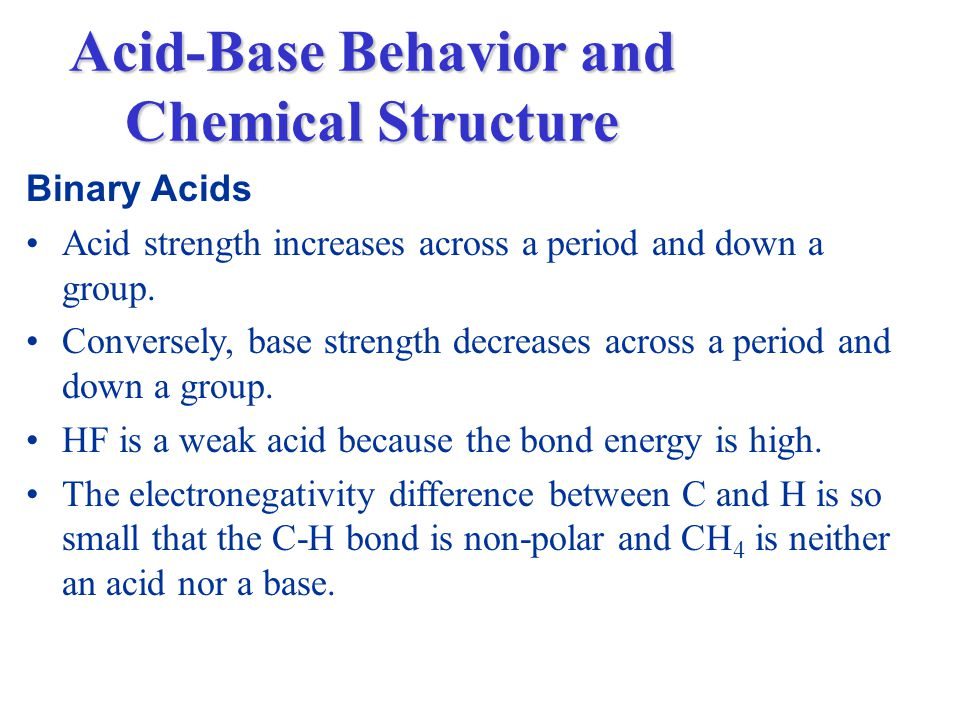 Binary Acids Acid strength increases across a period and down a group.