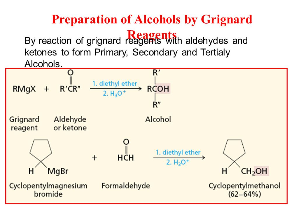 Preparation of Alcohols by Grignard Reagents By reaction of grignard reagents with aldehydes and ketones to form Primary, Secondary and Tertialy Alcohols.