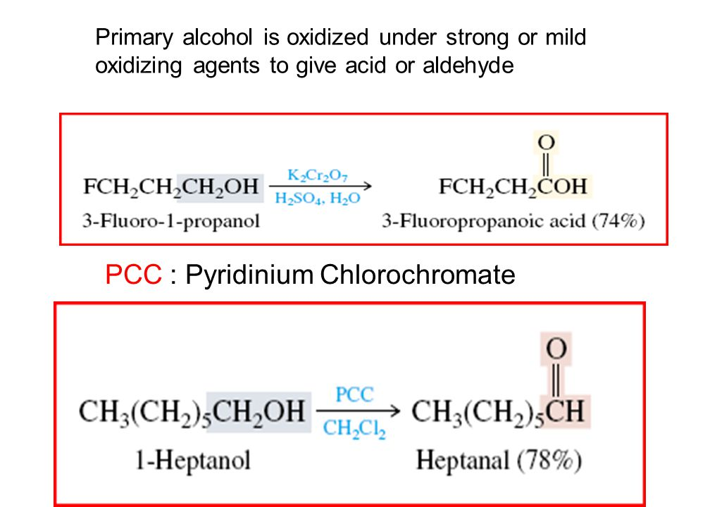 PCC : Pyridinium Chlorochromate Primary alcohol is oxidized under strong or mild oxidizing agents to give acid or aldehyde