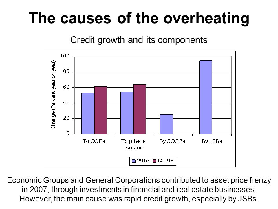 The causes of the overheating Credit growth and its components Economic Groups and General Corporations contributed to asset price frenzy in 2007, through investments in financial and real estate businesses.