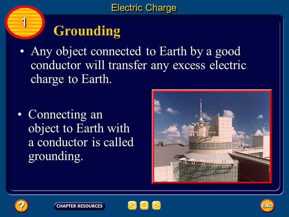 Grounding Electric Charge A discharge can occur any time that charge builds up in one area.