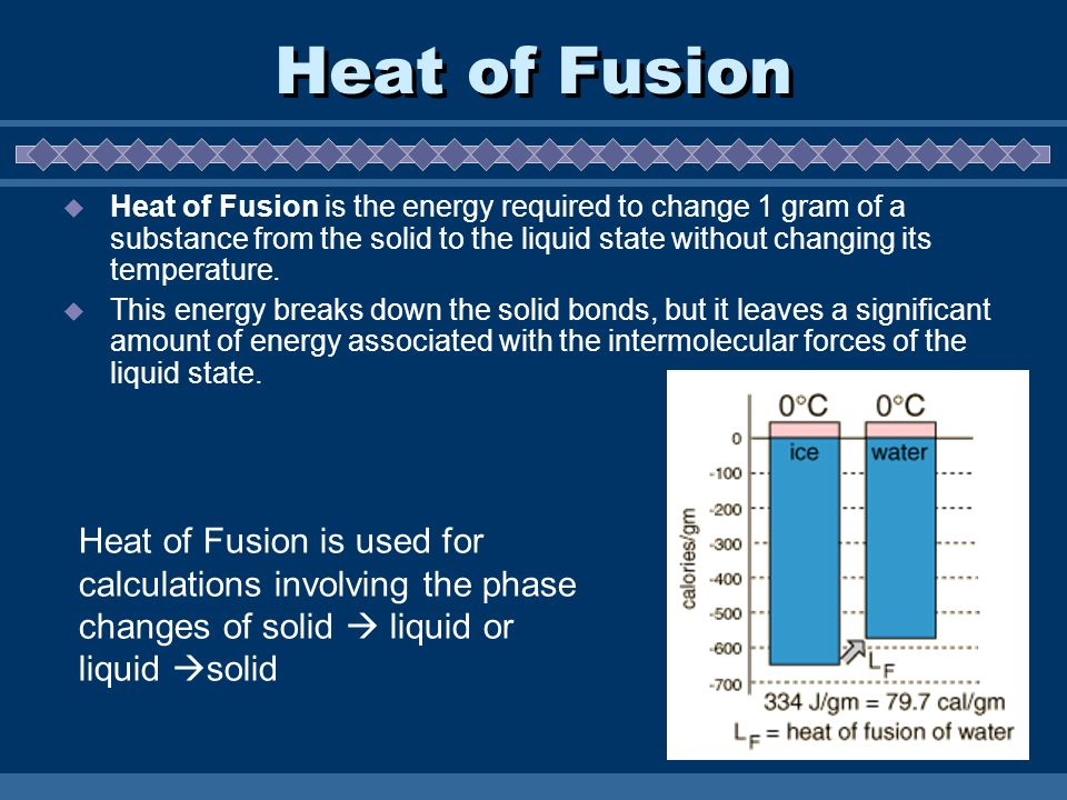 Heat of Fusion  Heat of Fusion is the energy required to change 1 gram of a substance from the solid to the liquid state without changing its temperature.