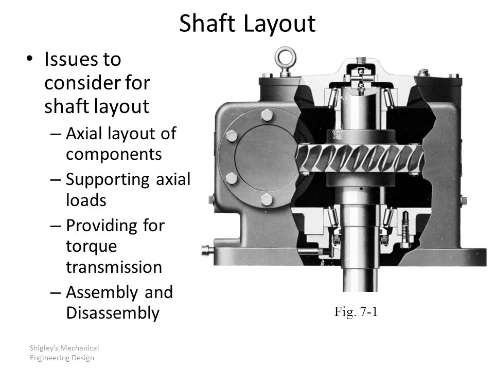 Shaft Layout Issues to consider for shaft layout – Axial layout of components – Supporting axial loads – Providing for torque transmission – Assembly and Disassembly Shigley's Mechanical Engineering Design Fig.