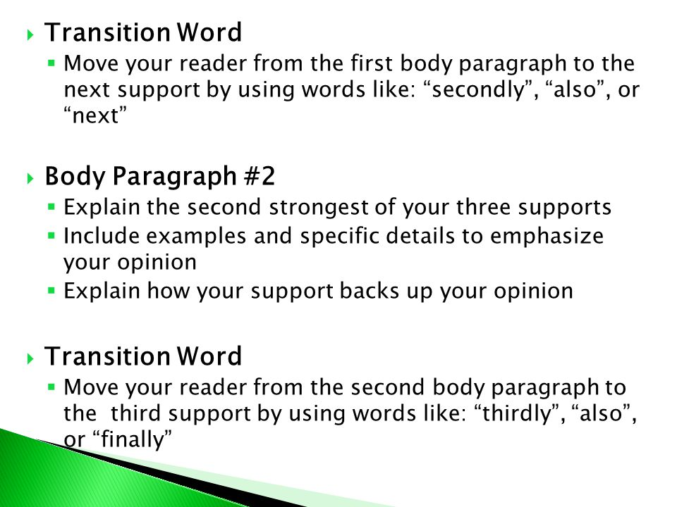 transition words for opinion essay