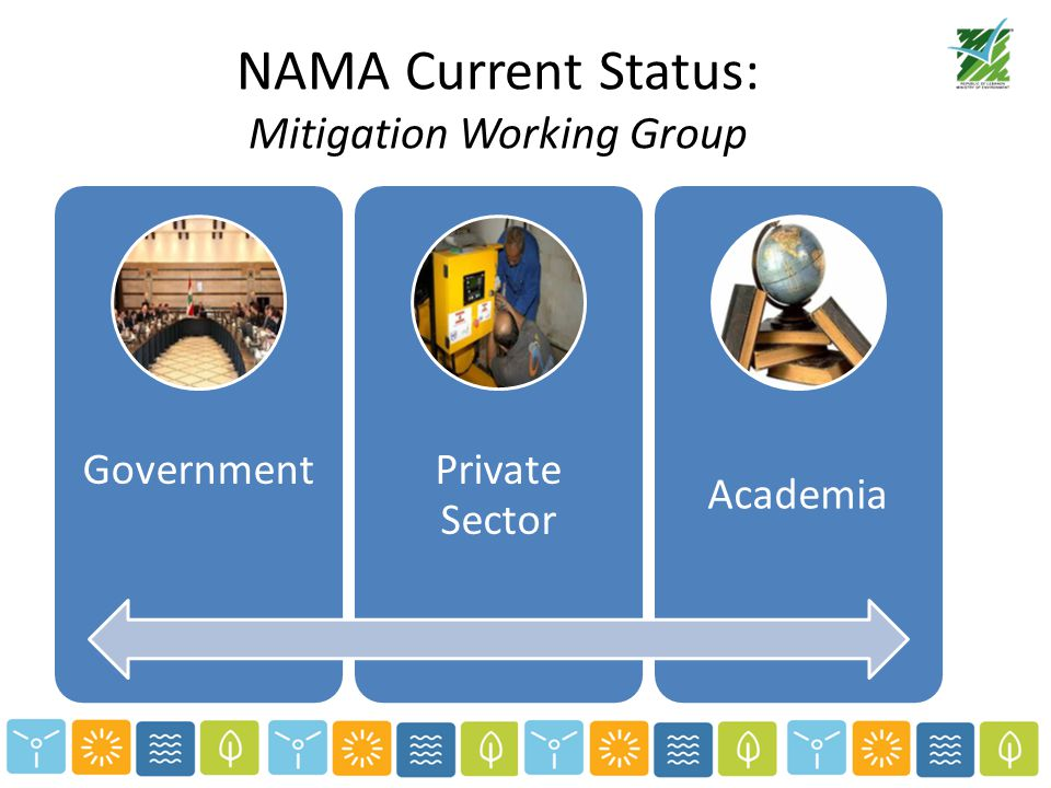 NAMA Current Status: Mitigation Working Group GovernmentPrivate Sector Academia