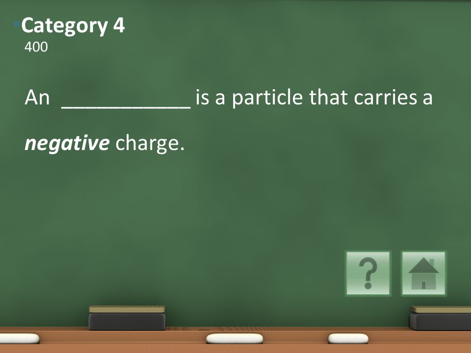 An ___________ is a particle that carries a negative charge. 400 Category 4