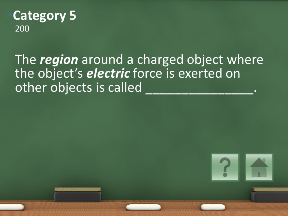 The region around a charged object where the object's electric force is exerted on other objects is called _______________.