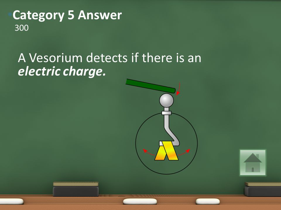 A Vesorium detects if there is an electric charge. 300 Category 5 Answer