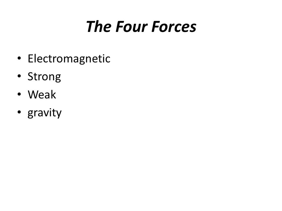 The Four Forces Electromagnetic Strong Weak gravity