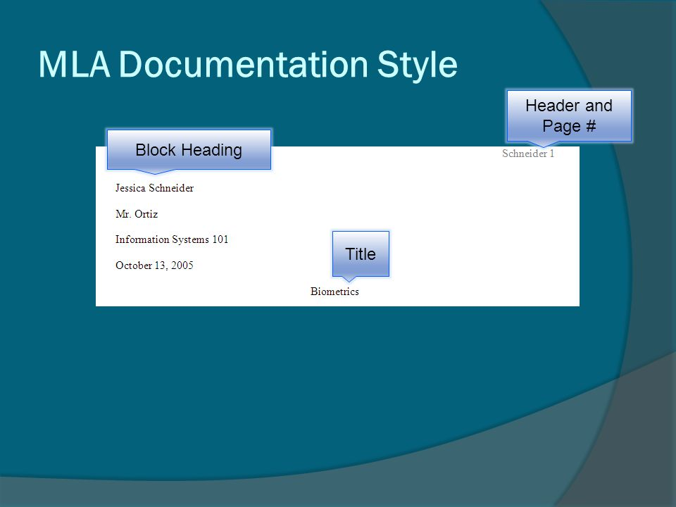 MLA Documentation Style Title Header and Page # Block Heading