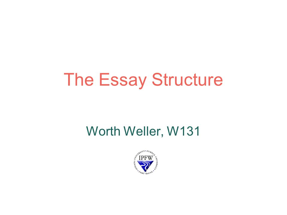 1 the essay structure worth weller w131