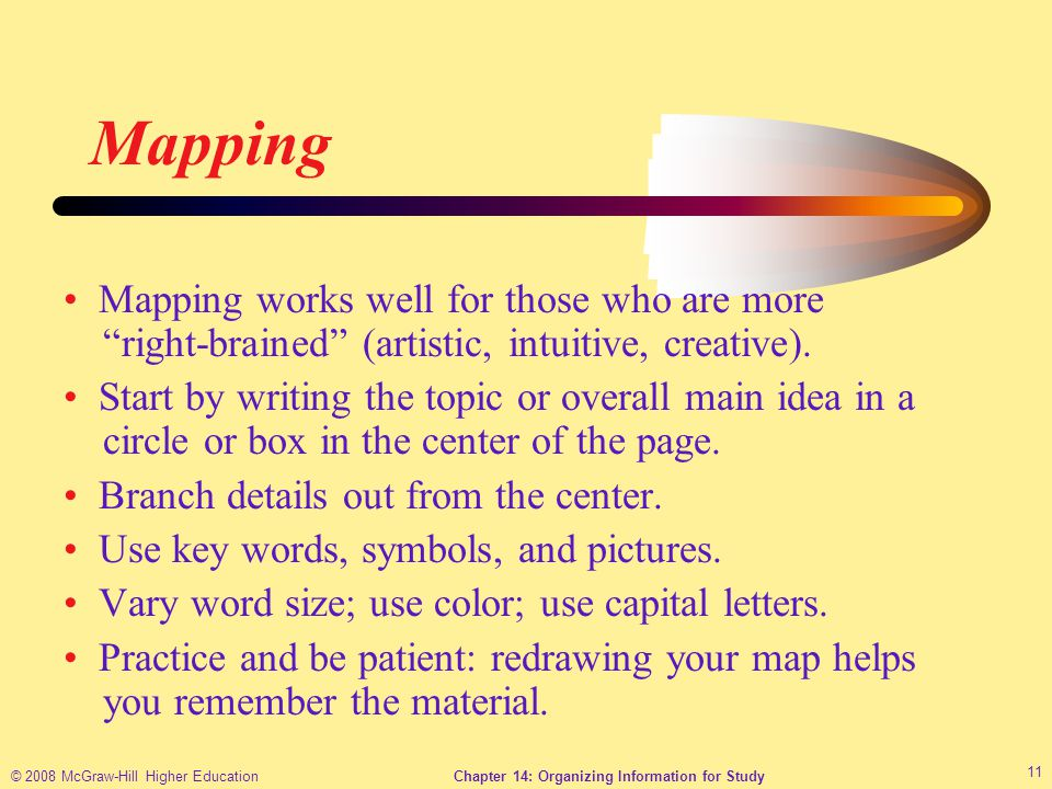 © 2008 McGraw-Hill Higher EducationChapter 14: Organizing Information for Study 11 Mapping Mapping works well for those who are more right-brained (artistic, intuitive, creative).