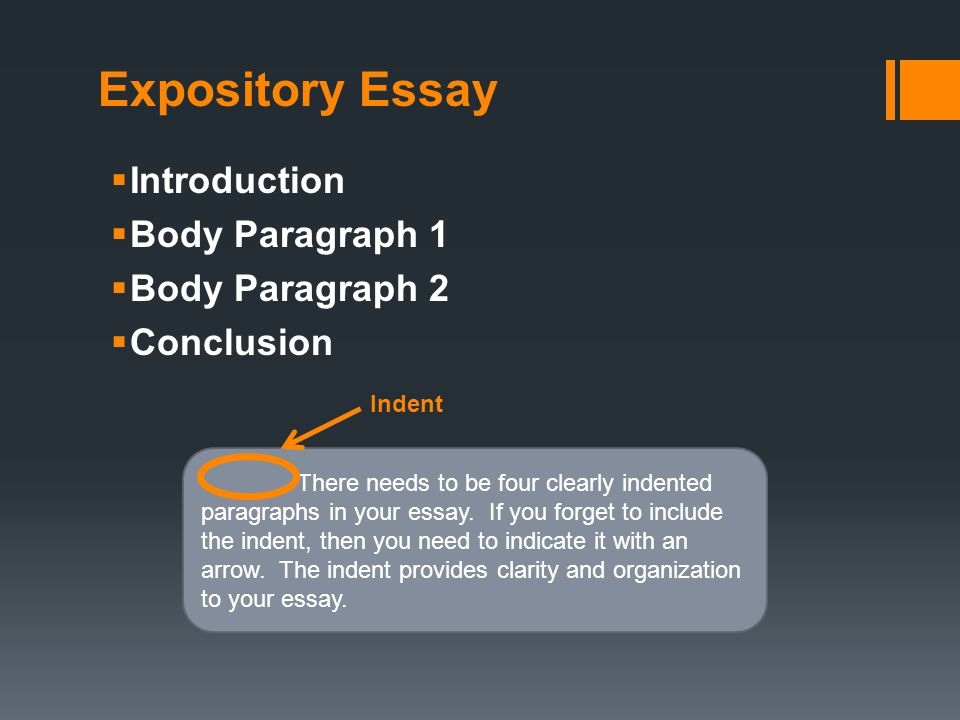 body paragraphs for expository essays Quizlet provides expository essay activities, flashcards and games start learning today for free log in sign up first sentence in a body paragraph.