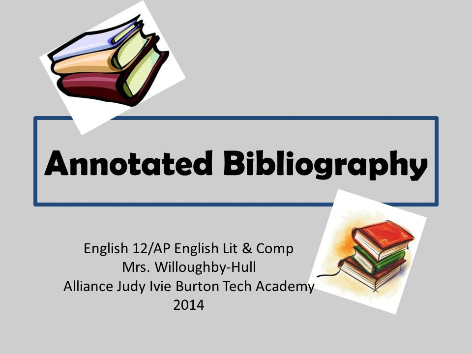 Annotated Bibliography English 12/AP English Lit & Comp Mrs.