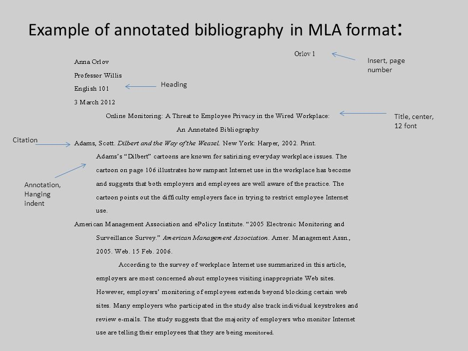 How to write a annotated bibliography from a website