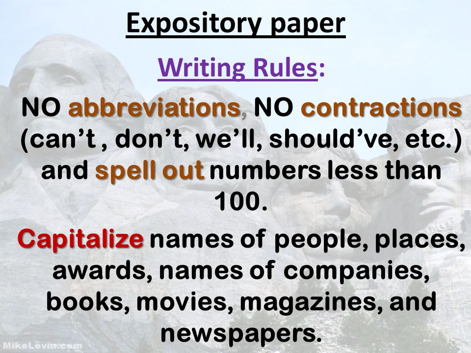 expository paper writing rules abbreviationscontractions spell  1 expository paper writing rules abbreviationscontractions