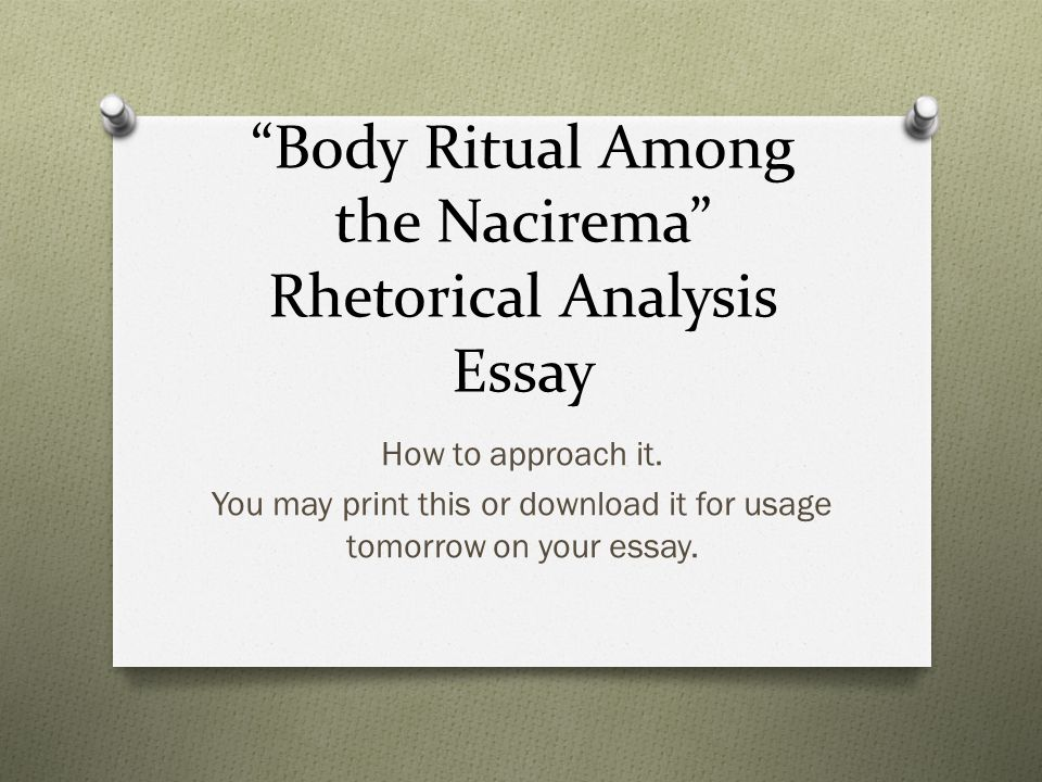 body rituals of the nacirema essay Buy custom body ritual among the nacirema essay it is worrying that some people still engaged in traditional inhumane customs past the civilization era from the article, the body ritual among the nacirema by horace miner, tries to pass a lesson that, feelings about our body still contain a high influence on many societies.