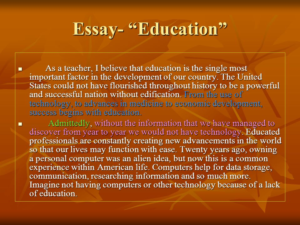 Education is important essay