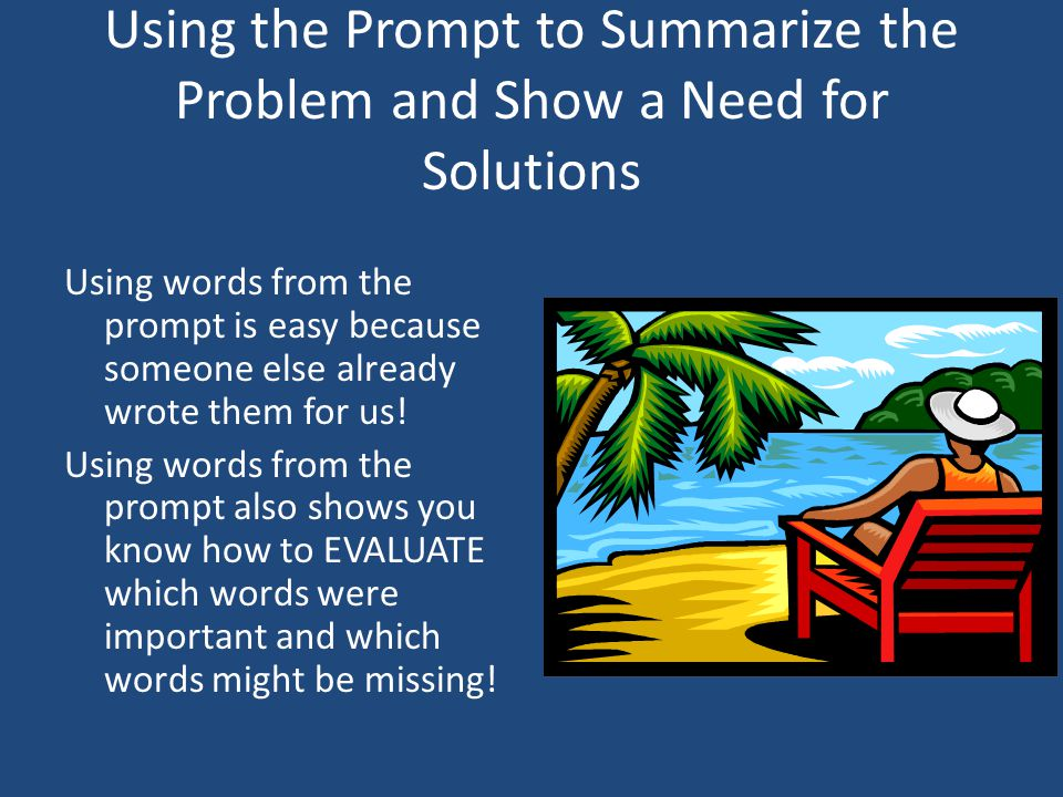 problem solution essay prompt Us history essay writing prompts list of attention-grabbing topics for problem solution essays a problem solution essay is a paper in which you describe a.