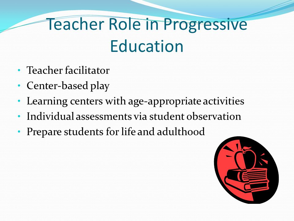 Teacher Role in Progressive Education Teacher facilitator Center-based play Learning centers with age-appropriate activities Individual assessments via student observation Prepare students for life and adulthood