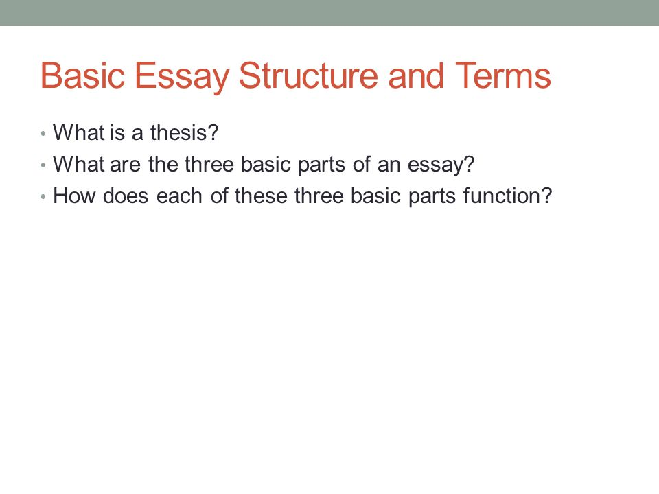 Traditional Academic Essays In Three Parts