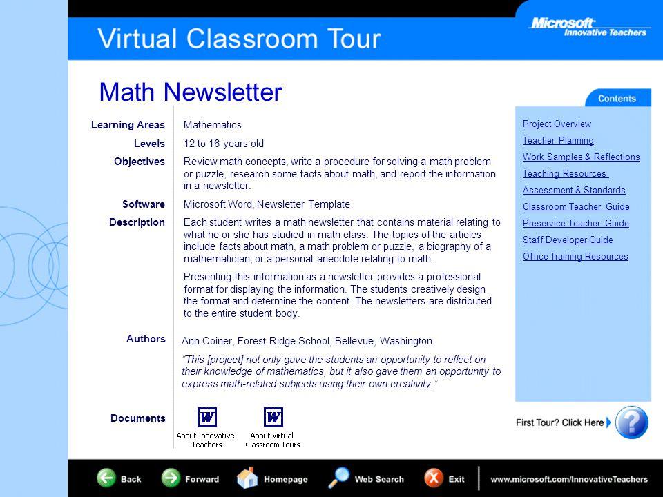math newsletter project overview teacher planning work samples, Presentation templates