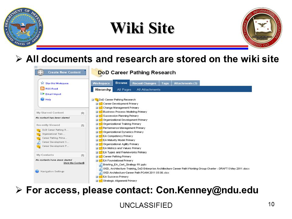 Wiki Site UNCLASSIFIED 10  All documents and research are stored on the wiki site  For access, please contact: