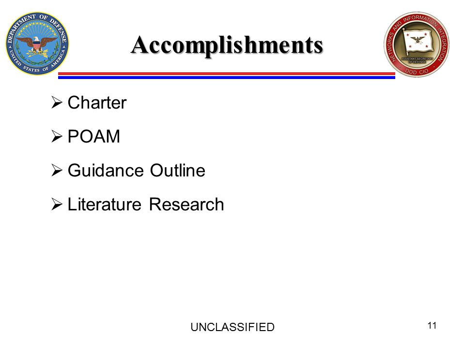 Accomplishments  Charter  POAM  Guidance Outline  Literature Research UNCLASSIFIED 11