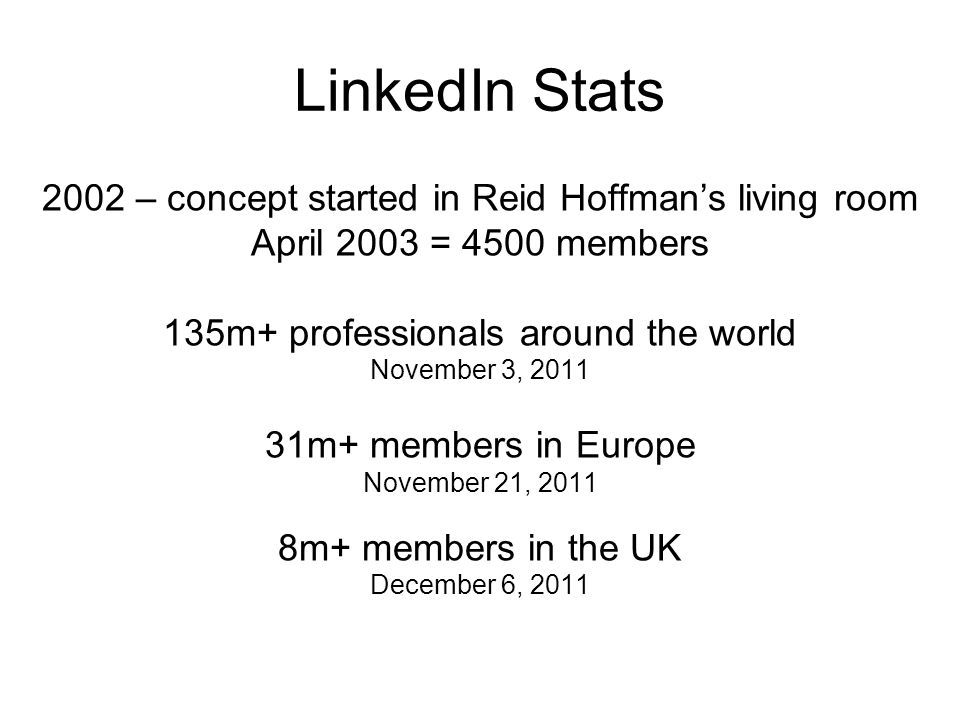 LinkedIn Stats 2002 – concept started in Reid Hoffman's living room April 2003 = 4500 members 135m+ professionals around the world November 3, m+ members in Europe November 21, m+ members in the UK December 6, 2011