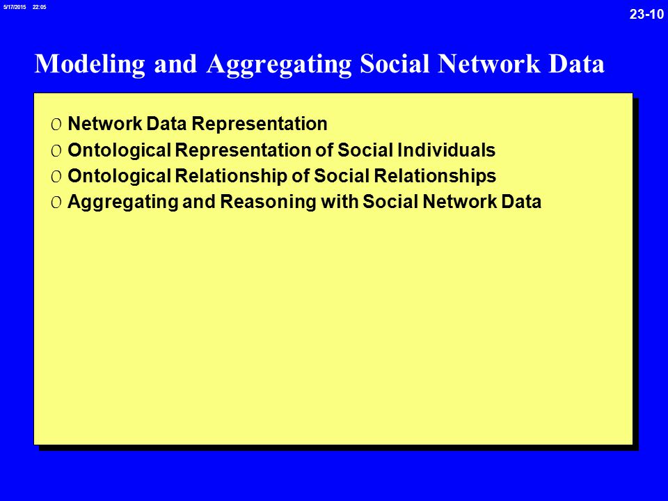 /17/ :05 Modeling and Aggregating Social Network Data 0 Network Data Representation 0 Ontological Representation of Social Individuals 0 Ontological Relationship of Social Relationships 0 Aggregating and Reasoning with Social Network Data