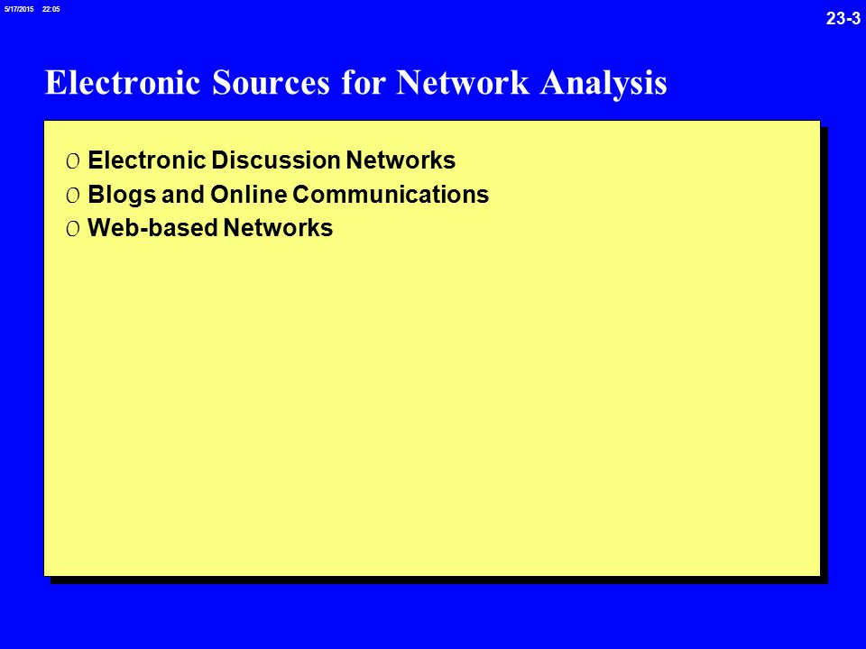 23-3 5/17/ :05 Electronic Sources for Network Analysis 0 Electronic Discussion Networks 0 Blogs and Online Communications 0 Web-based Networks