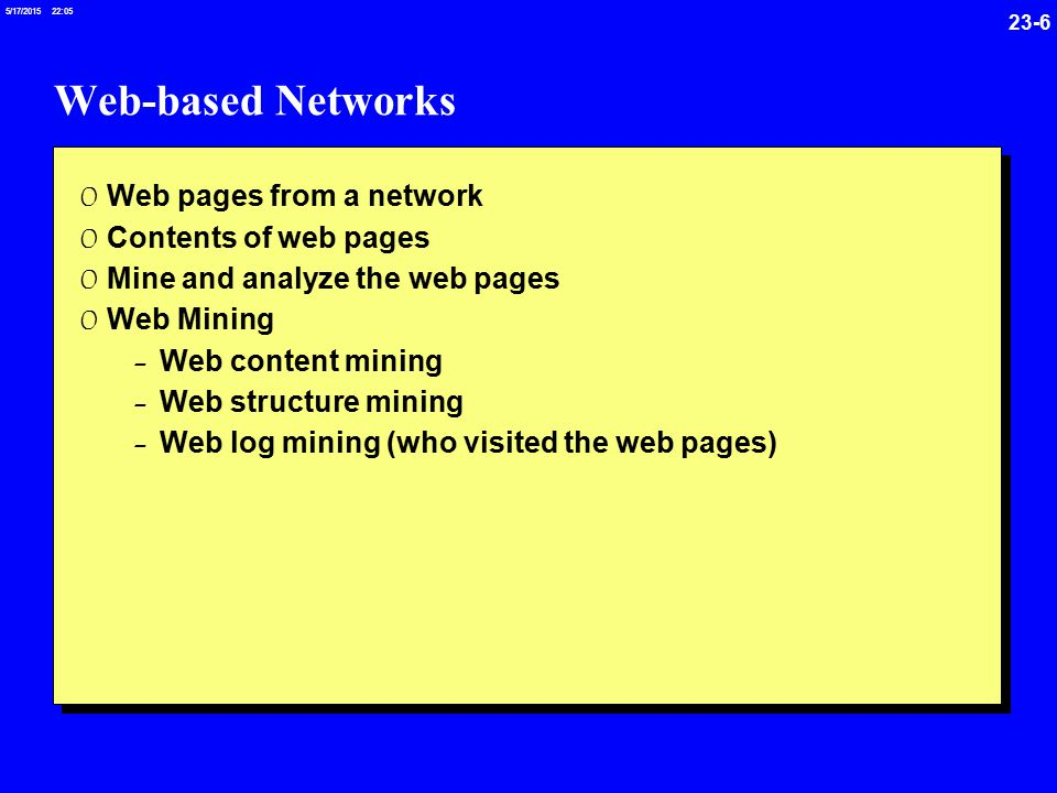 23-6 5/17/ :05 Web-based Networks 0 Web pages from a network 0 Contents of web pages 0 Mine and analyze the web pages 0 Web Mining - Web content mining - Web structure mining - Web log mining (who visited the web pages)