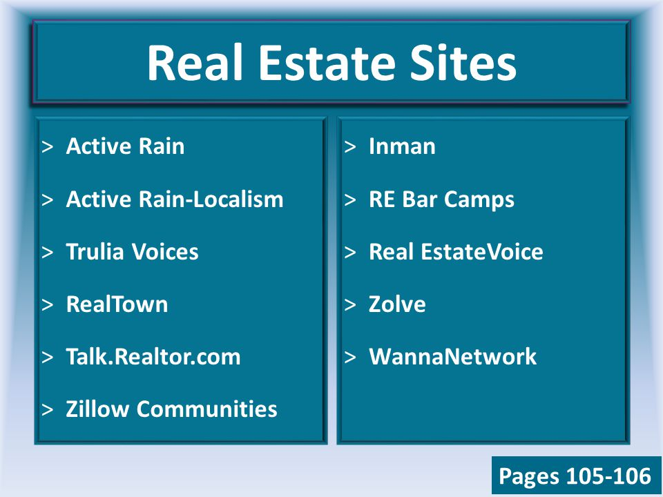 Real Estate Sites >Active Rain >Active Rain-Localism >Trulia Voices >RealTown >Talk.Realtor.com >Zillow Communities >Inman >RE Bar Camps >Real EstateVoice >Zolve >WannaNetwork Pages