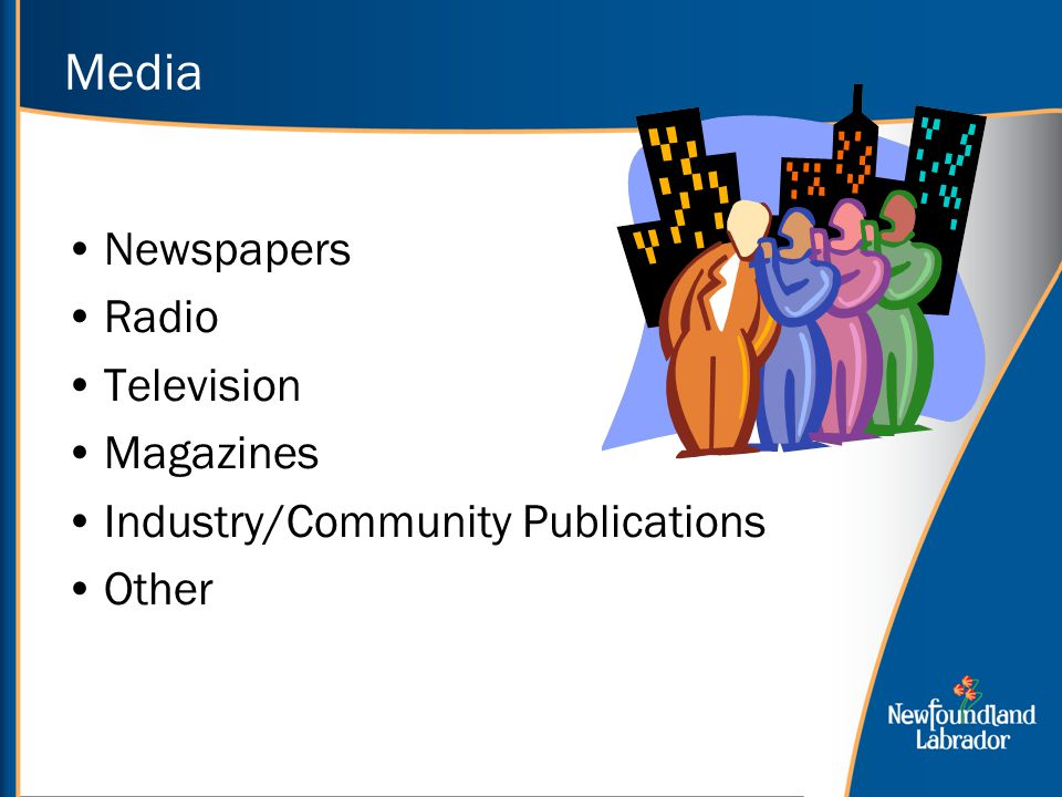 Media Newspapers Radio Television Magazines Industry/Community Publications Other