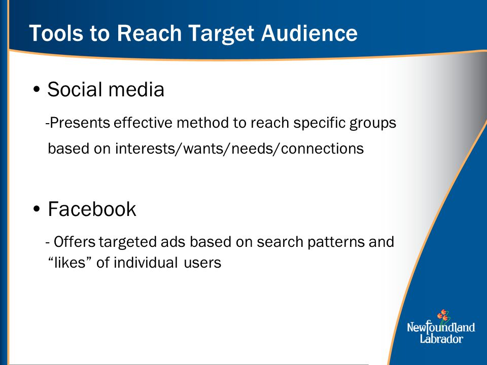 Tools to Reach Target Audience Social media -Presents effective method to reach specific groups based on interests/wants/needs/connections Facebook - Offers targeted ads based on search patterns and likes of individual users