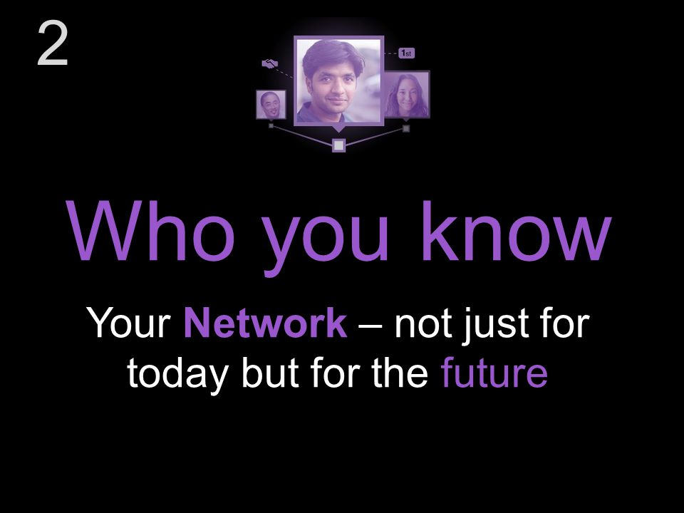 Your Network – not just for today but for the future Who you know 2