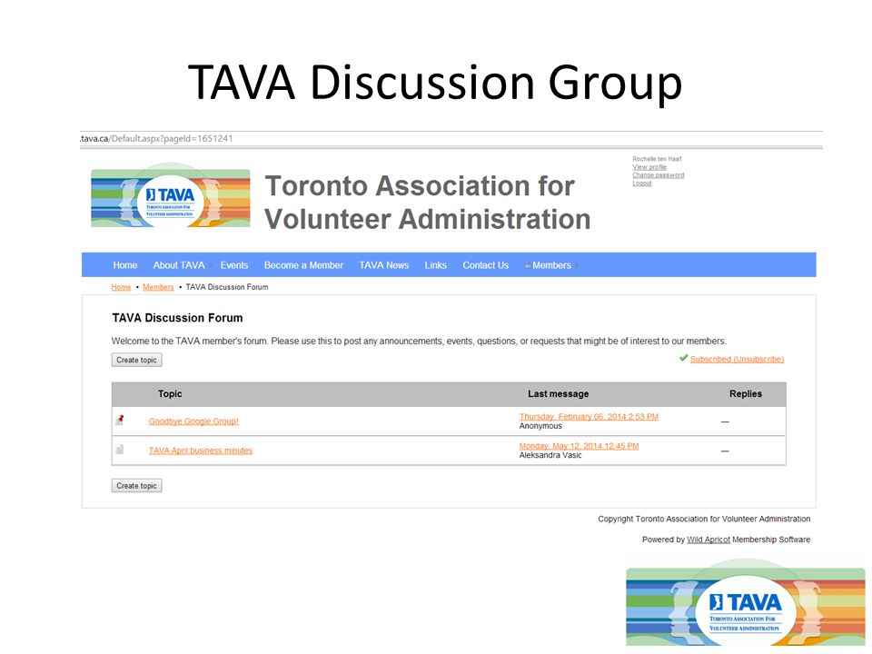 TAVA Discussion Group