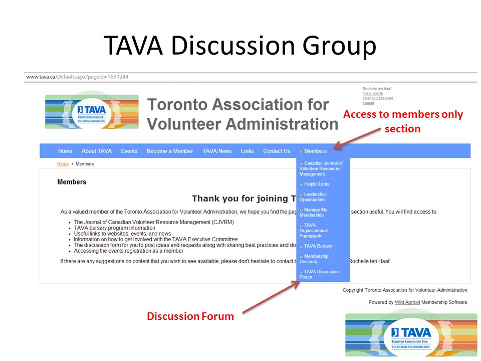 TAVA Discussion Group Access to members only section Discussion Forum