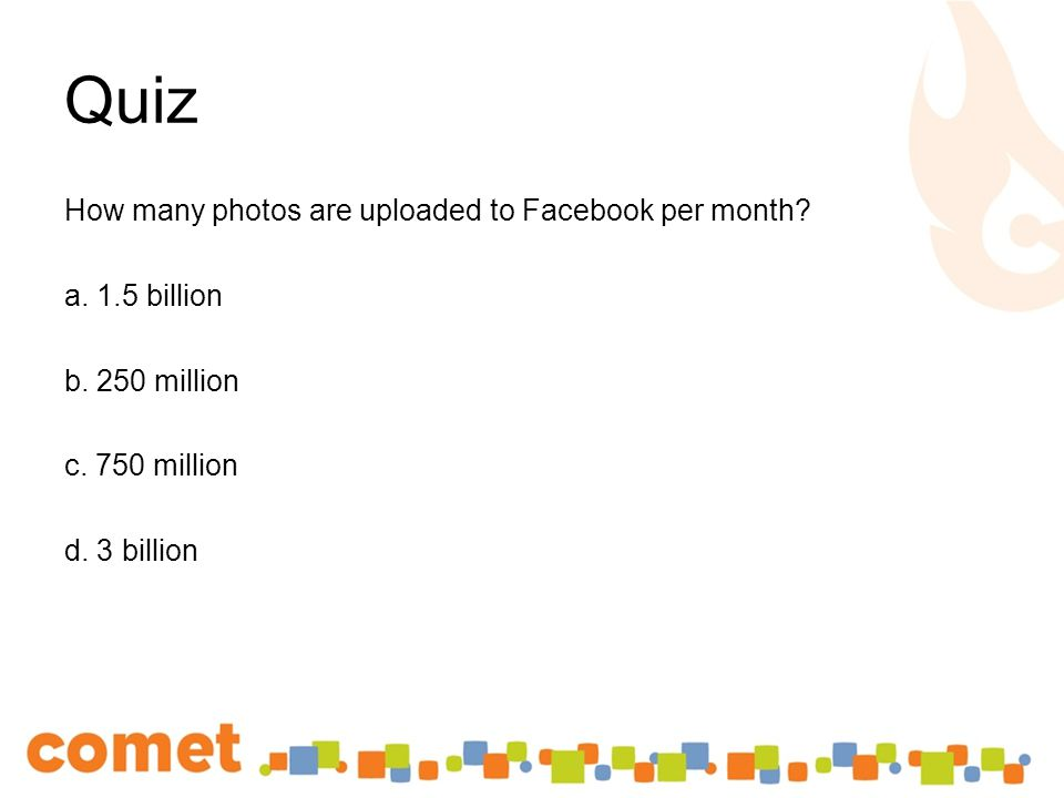 How many photos are uploaded to Facebook per month.