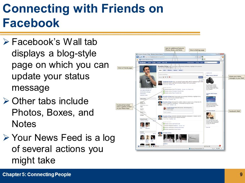 Connecting with Friends on Facebook  Facebook's Wall tab displays a blog-style page on which you can update your status message  Other tabs include Photos, Boxes, and Notes  Your News Feed is a log of several actions you might take Chapter 5: Connecting People9