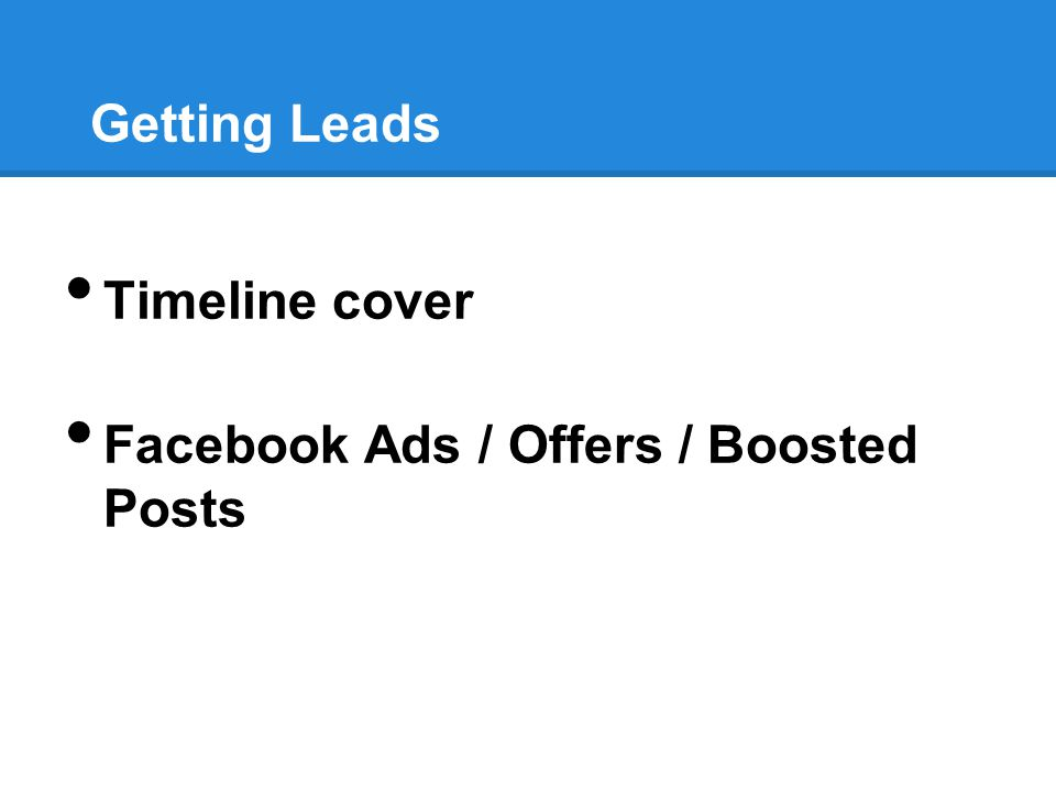Getting Leads Timeline cover Facebook Ads / Offers / Boosted Posts